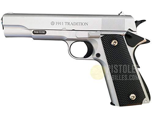 Plan Beta Pistolet Heavy Metal 1911 Classic Silver Spring 0.5J Adulte Unisexe