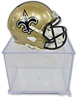 Riddell-Pro Mold Official National Football League Fan Shop Authentic NFL Mini Speed Helmet and Display Case Bundle. Great Sports Fan Collectible - Office, Home or Man Cave (New Orleans Saints)