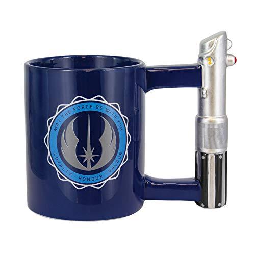 Star Wars JEDI ACADEMY Tasse LOYALTY HONOUR VALOUR blau, bedruckt, 100 % Keramik, Lichtschwert Griff, Fassungvermögen ca.450 ml.
