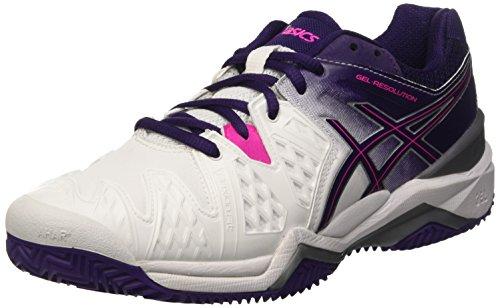 ASICS Damen Gel-Resolution 6 Clay Tennisschuhe, Mehrfarbig (White/Parachute Purple/Hot Pink), 39.5 EU