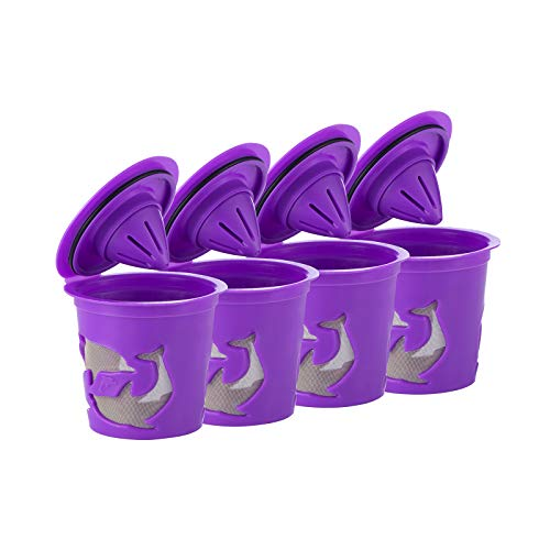 4 Reusable Refillable Coffee Filters For Keurig Family 2.0 and 1.0 Brewers Fits K200, K300/K350/K360,/K450/K460, K500/K550/K560 (Purple, 4)