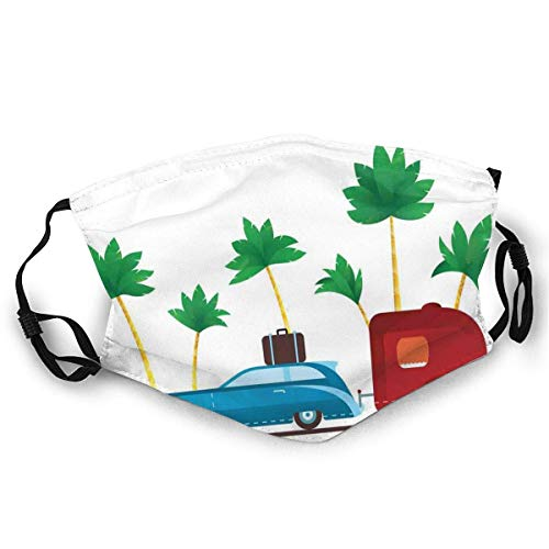 Fashion Comfortable Windproof mask,Colorful Travel Cartoon Tropical Palm Trees With Retro Vehicle And Suitcase,Printed Facial decorations for adult