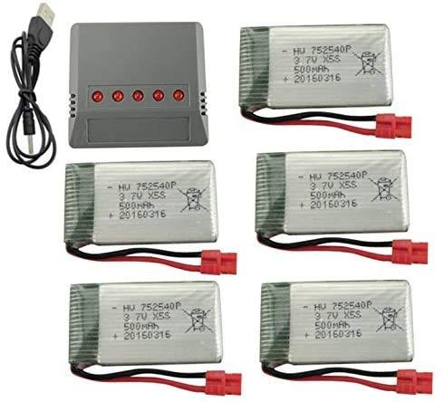 Fytoo Lipo Batterie 3,7V 500mAh x5+ 5 in 1 Batteria Caricabatterie per RC radiocomandato Quadcopter SYMA X5HW X5HC RC Quadcopter Drone Parti della Batteria