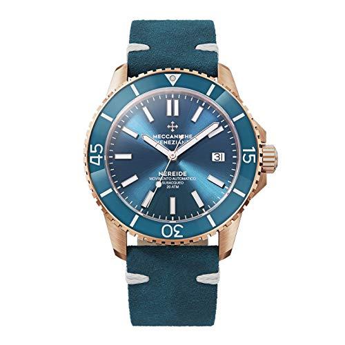 Meccaniche Veneziane 1302017 - Reloj automático de buceo para hombre, color oro rosa, PVD, color azul