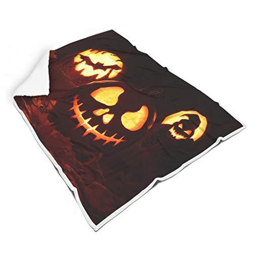 Rinvyintte - Manta para silla de Halloween, diseño de calabaza, 150 x 200 cm, color blanco