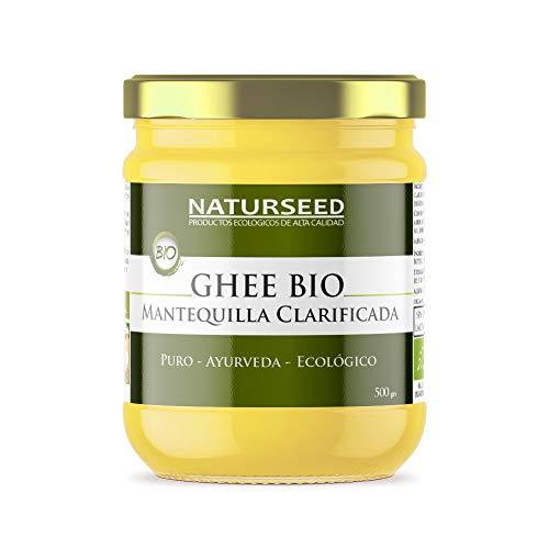 Naturseed Ghee Organico - Mantequilla Clarificada Bio Pura Ayurveda - Organic Butter Grassfed - Sin Lactosa - Vacas alimentadas sólo de pastos ecologicos - Sabor Dulce - 250º- Recetas Gratis (500GR)