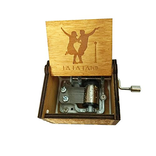 """FORUSKY Caja de música de madera tallada con texto en inglés \""""LA LA LAND\"""", para decoración del hogar, manualidades, juguetes, regalo"""