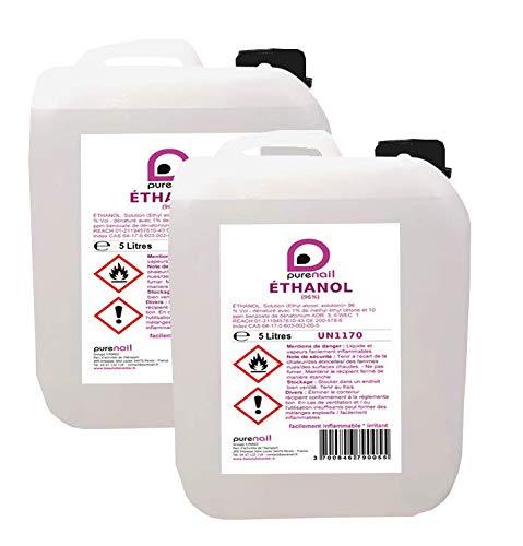 Ethanol 96%, lot de 2 jerrycans de 5 Litres,- Livraison Gratuite en France métropolitaine
