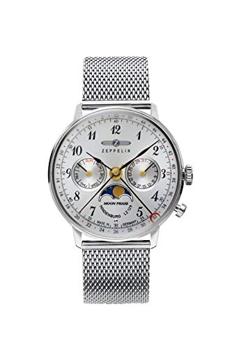 Zeppelin Unisex Chronograph Quarz Uhr mit Edelstahl Armband 7037M-1
