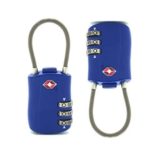 DH74-2 stuks hangslot Tsa voor Usa, reizen, koffer, rugzak, kast, palestra, flexbogen, 3 cijfers, 2. generatie.