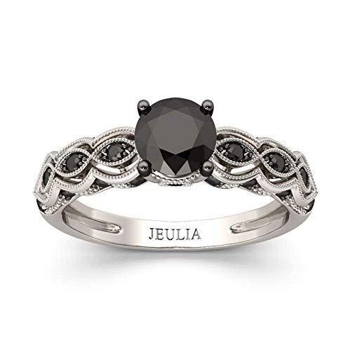Jeulia 2 Carat Vintage Milgrain Engagement Ring Women 925 Sterling Silver Black Diamond Wedding Rings Round Cut CZ Cubic Zirconia Eternity Rings with 0.46 Ct White Diamond Valentine Gift (9)