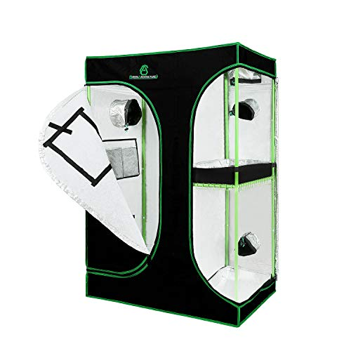 GreenArchitecture GA Grow Tent 2-in-1 90x60x135 CM 120x90x180 CM 150x120x200 CM Inch Growing Tent for Homegrowing Lightproof and Tearproof Canvas Waterproof Indoor Grow Tent (90x60x135 CM)