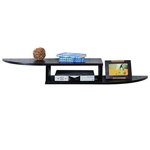 Planken MIDUO Wandrek voor DVD componenten, Set Top Boxes, Kabeldozen, Streaming Apparaten en DVR's met Black Glass Shelf zeer duurzaam