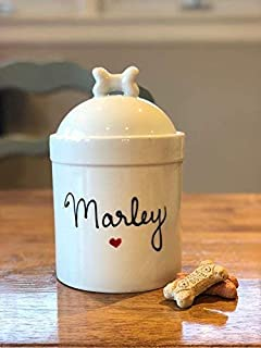 Large Size Personalized Dog Treat Jar and Canister Personalized with Name, Airtight Dog Treat Container with Silicone Seal and bone Lid