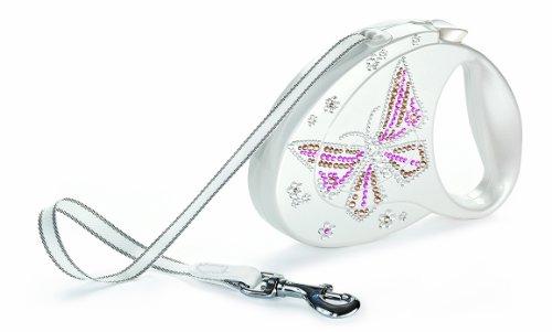 FLEXI Glam vlinder tape intrekbare hondenriem met Swarovski-kristallen, M, wit