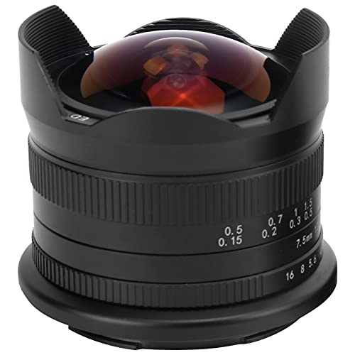 Archuu 7Artisans 7,5 Mm F2,8 II M-Mount Fisheye Spiegelloses Kameraobjektiv, Professionelles 190 ° Ultraweitwinkel-Verwacklungsschutz für Canon EOS M5 / 6, Leicht und Kompakt
