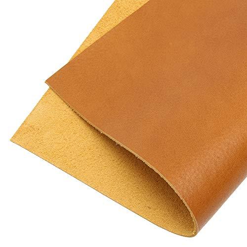 レザークラフト 革 本革 ヌメ 牛革 生地 カラー カットレザー バングラ産 キップ 1.3mm厚 Harvestmart (イエローマスタード, 6デシ(約a4サイズ))