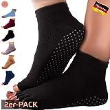 GERNEO® - DAS ORIGINAL - Premium Yoga Socken offen - zehenfreie Füsslinge - schwarz-2er Pack