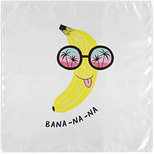 20'X20' Divertido Banano en Gafas de Sol con el Horizonte Marino Reflexión de Tela Servilleta de la Mesa de Poliéster Lavable Cena Servilletas Conjunto de 4 para el Banquete de Fiesta Decoraciones d