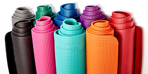 Gaiam Essentials Thick Yoga Mat Fitness & Exercise Mat With Easy-Cinch Yoga Mat Carrier Strap (72L X 24W X 2/5 Inch Thick)