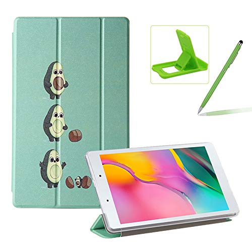Herzzer Three Fold Leather Case for Samsung Galaxy Tab A 8.0 2019,Slim Multi-Angle Folio Stand Premium Colorful Print PU Leather Protective Smart Cover with Clear Back Case,Funny Avocado