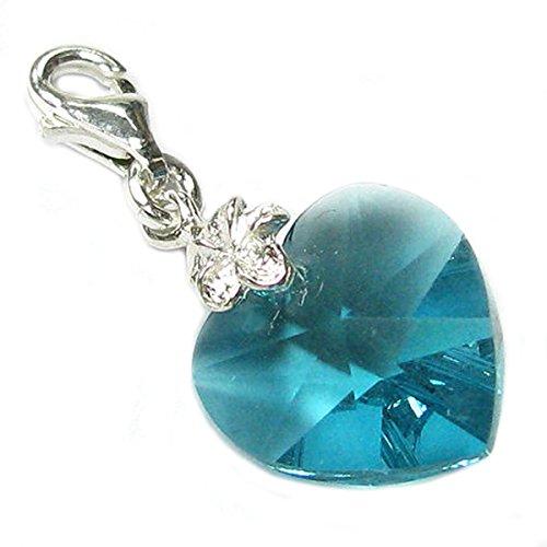 Queenberry broche de plata de ley y con cristales de Swarovski azul...