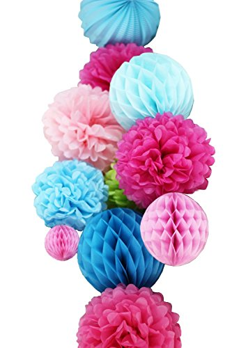 SUNBEAUTY 11er Set Deko Kombination Pink Rosa Blau Wabenbälle Pompoms