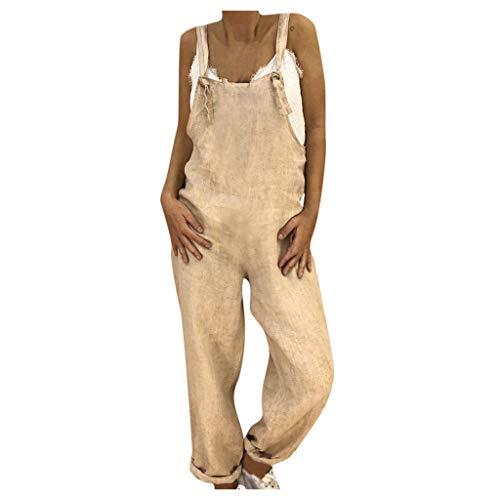 BaoDan Plus Size Sommerkleidung Damen Leinen Overalls Lässig Lose Latzhose Strampler Baggy Playsuit Jumpsuit, Overalls, Hosen Khaki 4XL