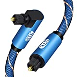 90 Degree Swivel Adjustable Right Angled Optical Audio Cable,EMK Rotatable TOSLINK Pulg Fiber Optic Cord for Blu-Ray Player,Soundbar,HDTV,PS3/PS4, Xbox and More (10ft/3m)