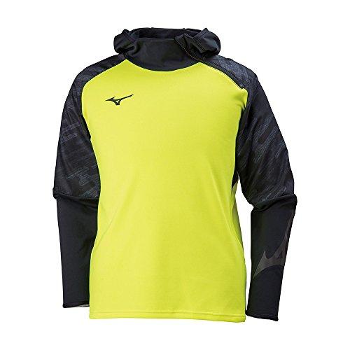 [ミズノ] サッカーウェア トレイジャーフードシャツ ニット ソフトタッチ ストレッチ スリムフィット 男女兼用 P2MC8050 ブラック×セーフティイエロー 2XL