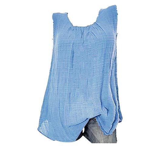 YEBIRAL Große Größe Damen Tunika Top Sommer Lässige Ärmellos Einfarbig mit Rundhals Leinen Shirt Bluse Lose T-Shirt Tanktop(XXXL,Hellblau)