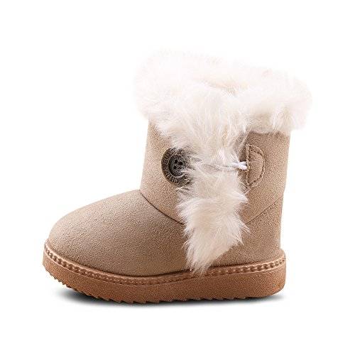 Migo Kids Fur Line Bailey Button Boots for Boy Girl Winter Snow Boots (Toddler/Little Kid) (5 M US Toddle, Beige)