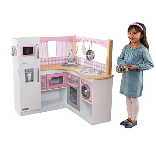 KidKraft 53185 Grand Gourmet Corner Wooden Pretend Play Toy Kitchen for Kids with Role Play Accessories Included, Pink and White