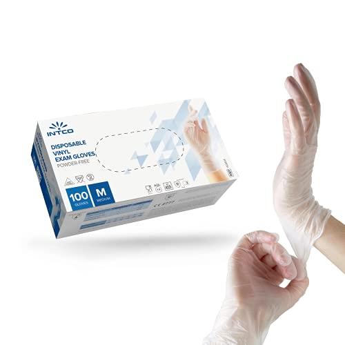 Intco Medical – 100x medizinische Einweg-Handschuhe aus reißfesten Vinyl – Latex-und puderfrei für einwandfreie Hautverträglichkeit – Einsetzbar in Chemie-, Lebensmittel- & Reinigungsindustrie (L)