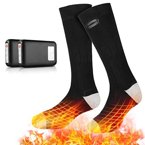 eventek Beheizte Socken, Elektrische Heizsocken, 3 Heizstufen 4000mAh Wiederaufladbare Batterie Heizsocken Warme Socken, Bis zu 10 Stunden Hitze, für Wintersport/Outdoor, für Herren Damen