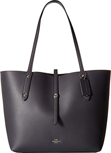 COACH Polished Pebbled Leather Market Tote Sv/Midnight Navy One Size