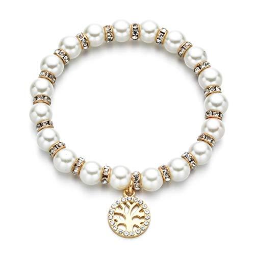 DSJTCH Mujeres Pearl Equipo Malvado y Pulsera elástica encantos de Cristal corazón búho árbol de Vida Abalorios Pulseras joyería Regalo (Metal Color : A)