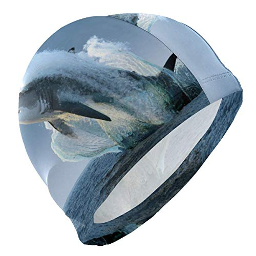 heefan Badekappe blau Ocean Hai Fisch Badekappe für Männer Jungen Erwachsene Jugendliche Badekappe rutschfest