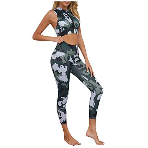 Lialbert Damen Camouflage Yoga Set Sportanzug Jogginganzug Trainingsanzug 2Pcs Jumpsuit Teile Outfit Set Sport Laufen Yoga Anzug Sportswear Weste Sport Tops+Leggings