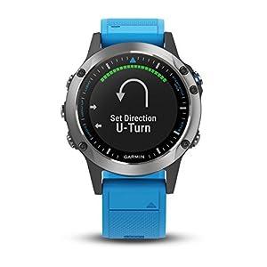 Garmin quatix 5, Multisport Marine Smartwatch, Comprehensive Boat Connectivity, Stainless Steel - Blue