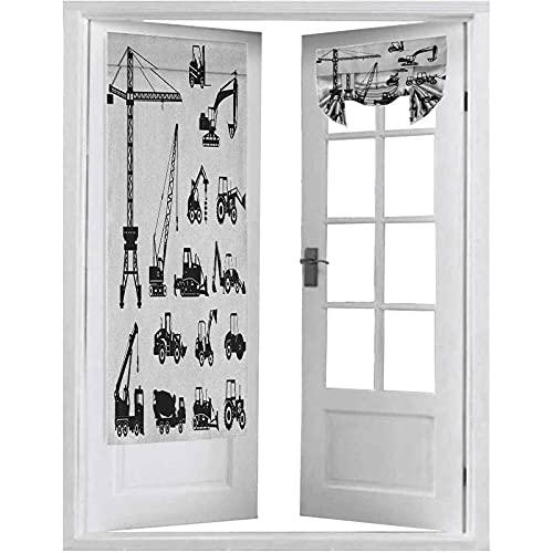 Cortinas de puerta, siluetas negras hormigoneras máquinas industriales set camiones tractores, 1 panel de 66 x 172 cm, aislamiento térmico para ventana, color negro y blanco