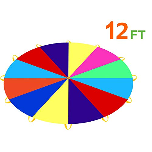 For Sale! Pantrasamia Kids Play Parachute 12 Foot for Kids with 12 Handles, Multicolored Parachute for 8 12 Kids Tent Cooperative Games (12 ft)