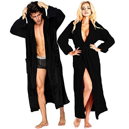 Bata de baño con capucha y capucha, 100% algodón egipcio | UNISEX | Toalla de felpa | Vestido de noche | Ropa de noche para gimnasios de ducha SPA | 2 bolsillos para parche, cinturón de toalla (negro, grande/X grande)