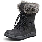 VEPOSE Women's Winter Snow Mid Calf Boots for Women Waterproof Grey Lace up Warmly Plush Fuzz Outdoor Boot(7.5,Winter Boots-966-Grey)
