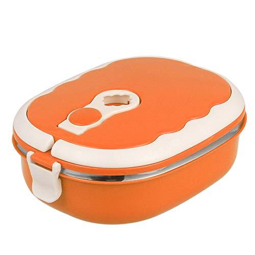 ATopoler Bento Box - Fiambrera de acero inoxidable de una sola capa para alimentos, a prueba de fugas con asa en arco aislante para guardería, escuela, trabajo, picnic y viajes, 900 ml (naranj