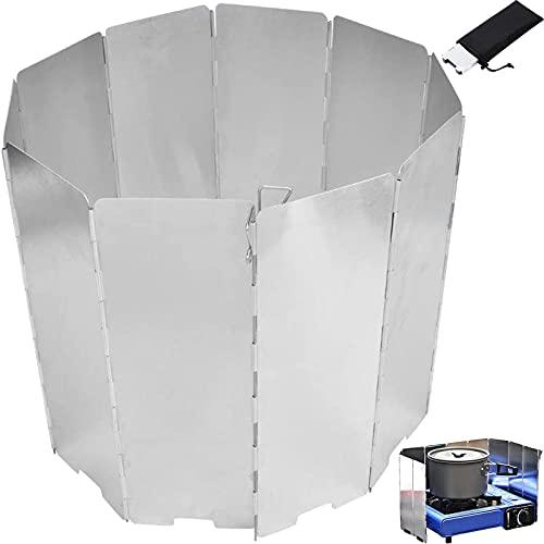 Lamas Plegables 10 Piezas Lamas de Camping Lamas al Aire Libre Listones portátiles Cortavientos de Aluminio Plegable con Bolsa de Almacenamiento para Estufa Cocina Cocina Acampar al Aire Libre Plata
