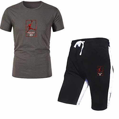 DREAMING-Camiseta estampada de 2 piezas para hombre con conjunto de pantalones cortos Traje deportivo de manga corta de algodón para hombre Top de primavera y verano S