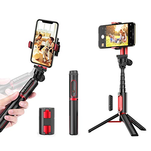 Gimbal Stabilizer, UPXON 360° Rotation Selfie Stick Tripod Phone Holder with Bluetooth Wireless Remote, Auto Balance 1-Axis Stabilizer for Smartphones and GoPro Tiktok Vlog Youtuber Live Video Record