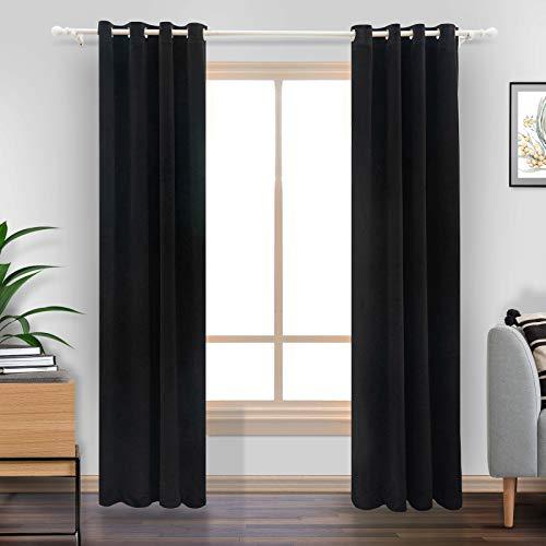 """LiilisPoetic Home Black Velvet Curtains 84 inches for Living Room, 2 Panels Grommet Curtains Thermal Insulated Velvet Drapes for Bedroom (52"""" W x 84"""" L, Black)"""