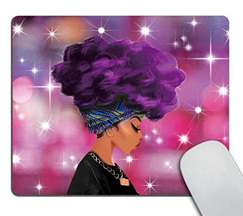 Smooffly Gaming Mousepad Custom,Traditional African Black Women with Purple Hair Afro Hairstyle Watercolor Portrait Picture Print Personalized Rectangle Mouse Pad